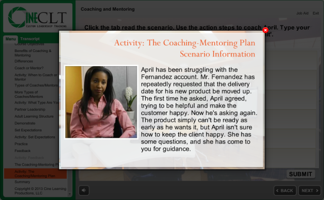 Scenario for the Coaching and Mentoring Plan Activity