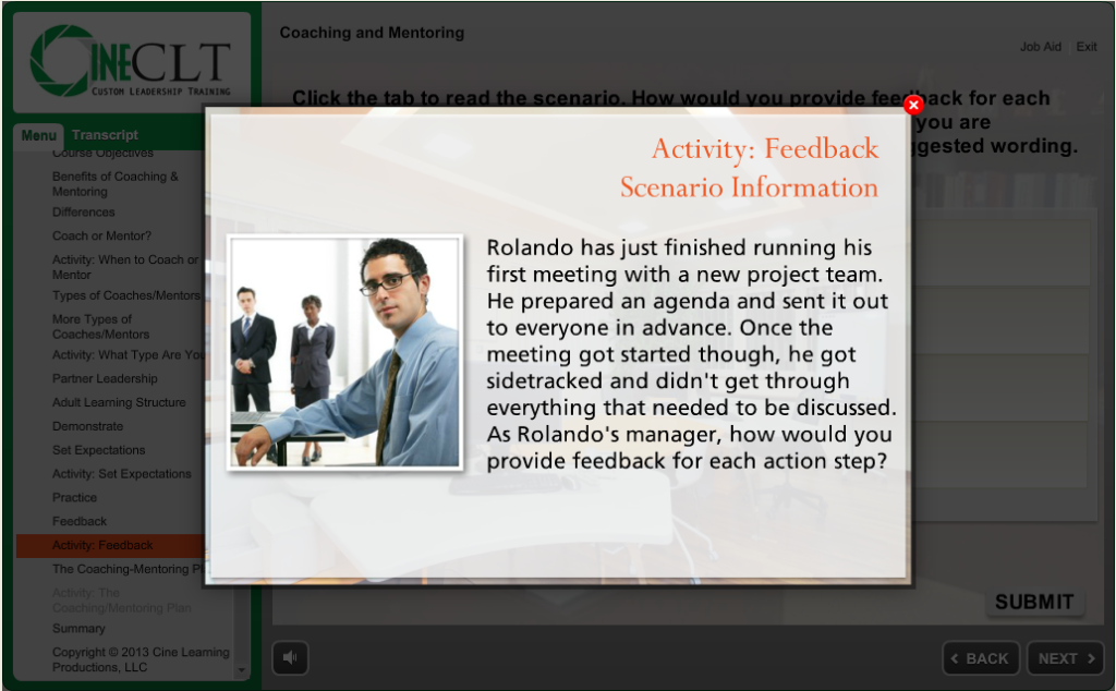 Coaching feedback activity