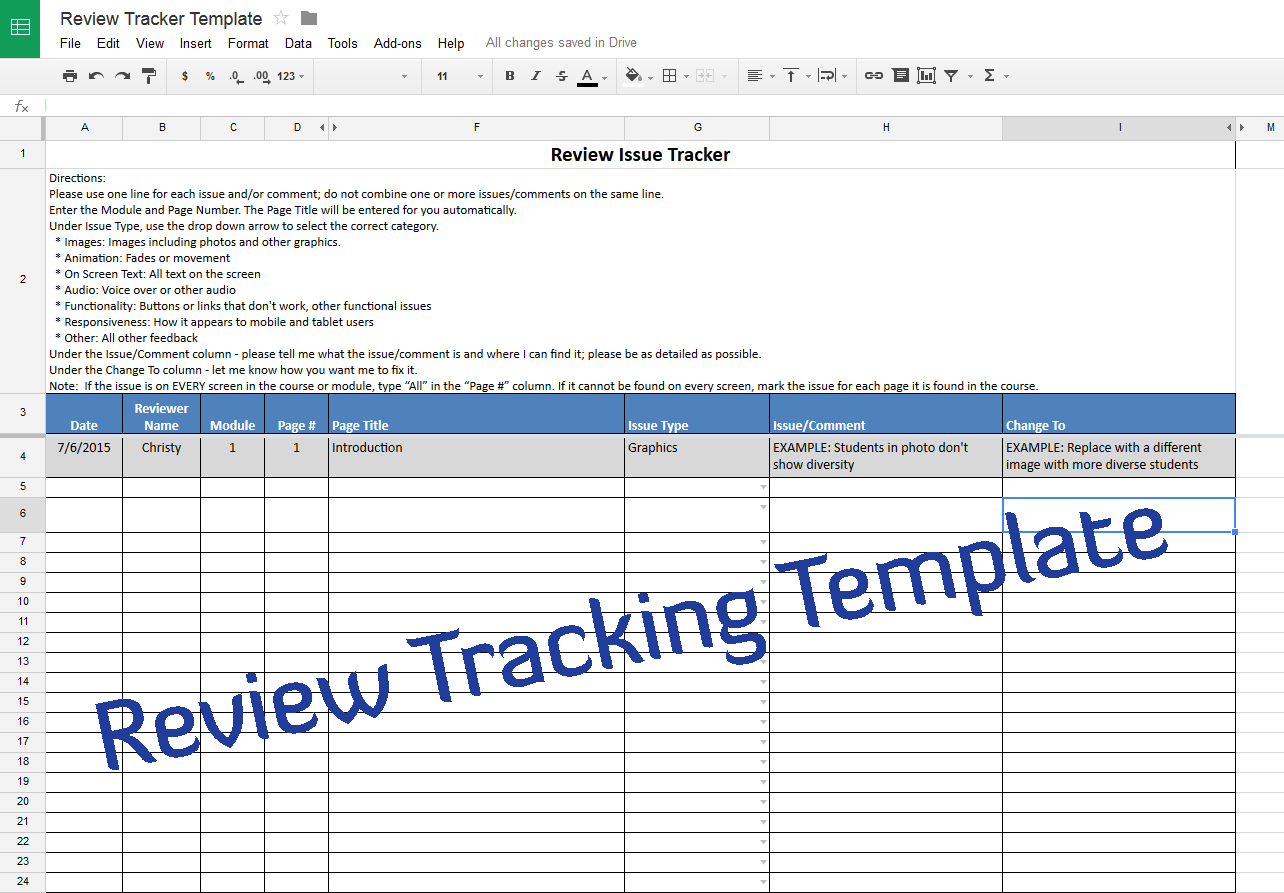 Course Review Tracking Template – Experiencing E-Learning