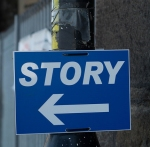 Sign labeled Story