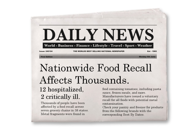 Fictional Headline: Nationwide Food Recall Affects Thousands