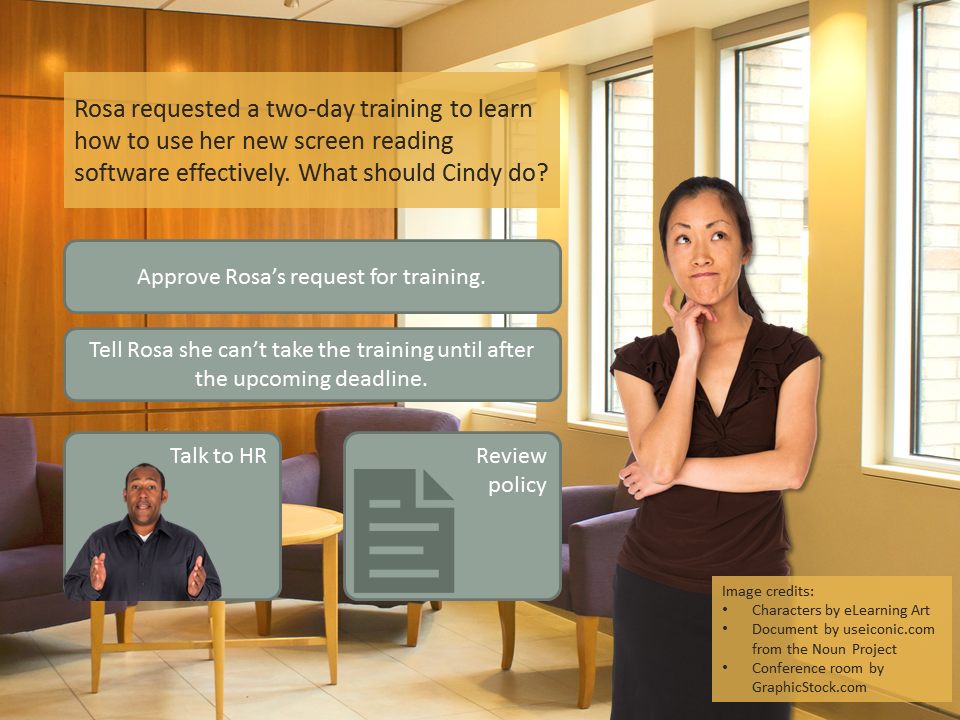 Scenario decision: Rosa requested a two-day training to learn how to use her new screen reading software effectively. What should Cindy do?