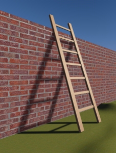 Ladder leaning against brick wall
