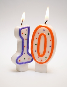 Number 10 candle