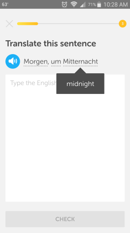 "Screenshot of Duolingo app with a hint of ""midnight"" for the German word Mitternacht"