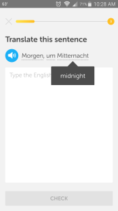 Screenshot from Duolingo