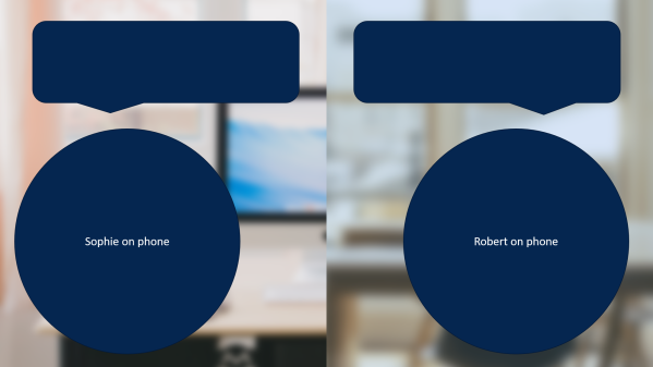 Side-by-side phone conversation layout
